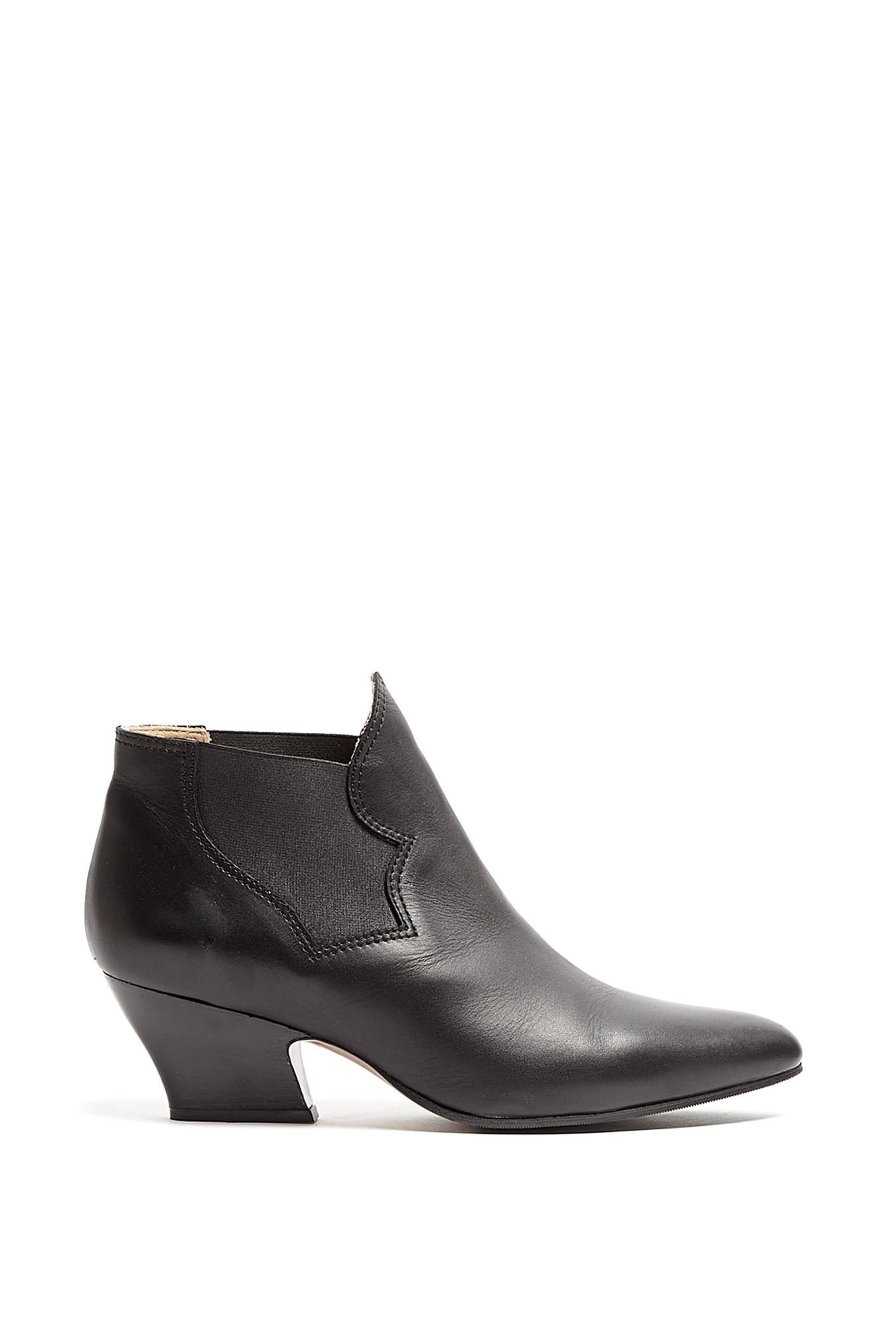 Acne Studios | Black Alma Mid Heel Pull On Leather Ankle Boot by Acne Studios