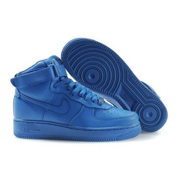 Nike Air Force Ones Mens Hi Tops All Royal Blue - Polyvore