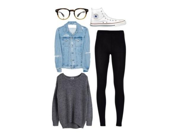 sweater leggings denim jacket converse glasses jacket sunglasses pants