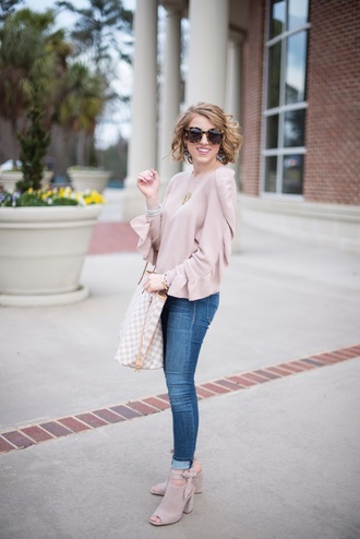something delightful blogger sweater shoes jewels sunglasses louis vuitton bag pink sweater ankle boots skinny jeans