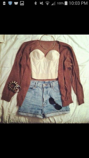 cardigan necklace top bracelets shorts