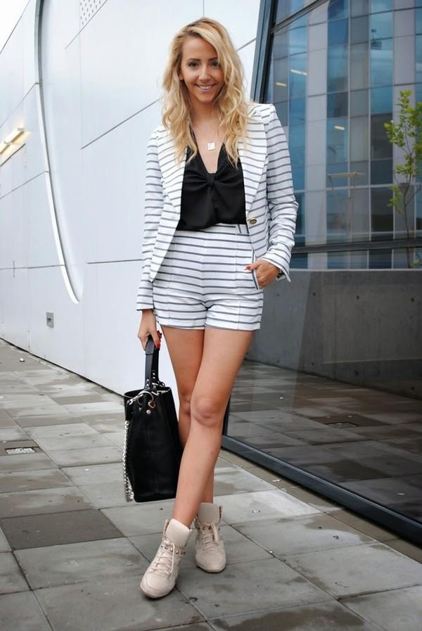 let's talk about fashion ! jacket shorts blouse jewels bag shoes