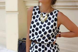 dress white dress dotted black dots dot dress polka dots polka dress