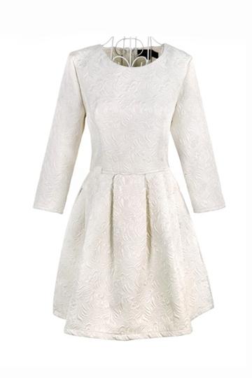 Vintage Solid Rilievo Jacquard Dress [FXBI00353] - PersunMall.com