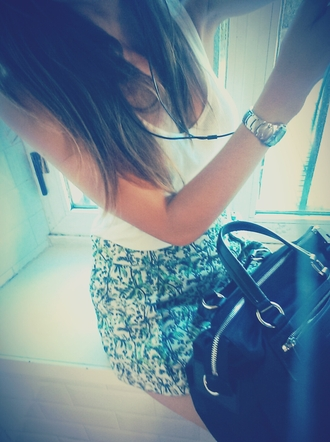 skirt summer outfits bag bimba & lola leather belt ootd top watch t-shirt urban outfitters urban fashion abercrombie & fitch celine celine bag pull and bear zara