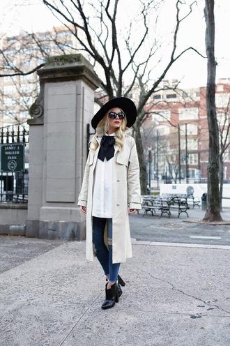 atlantic pacific blogger sunglasses white shirt trench coat ripped jeans felt hat coat shoes top white long coat