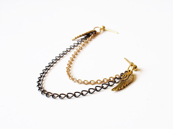 Gold Angel Wings and Black Chain Double Pierce by oflovelythings