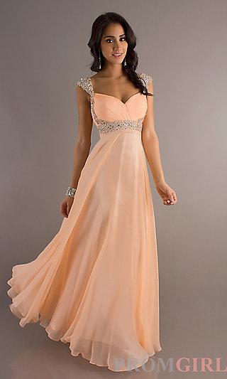 Long Cap Sleeve Prom Dress, Beaded Cap Sleeve Prom Gown- PromGirl