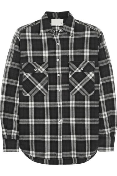 R13|Zip-detailed plaid stretch-cotton shirt|NET-A-PORTER.COM