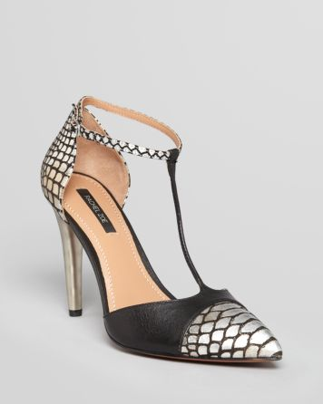 Rachel Zoe Pointed Toe Cap Toe Pumps - Franco T Strap High Heel | Bloomingdale's