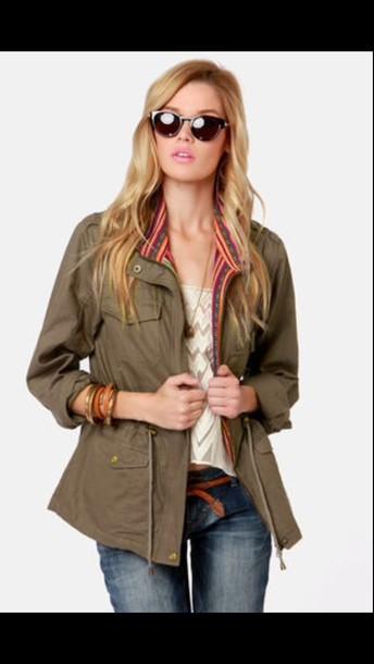 jacket olive green tribal pattern fall jacket