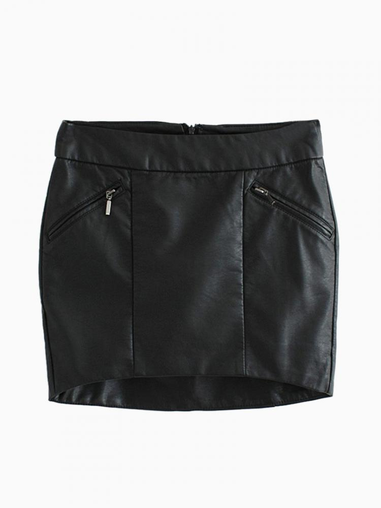 Black Pencil Skirt with Curved Hem | Choies