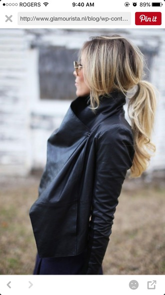 jacket leather wrap side button black leather jacket tight casual light