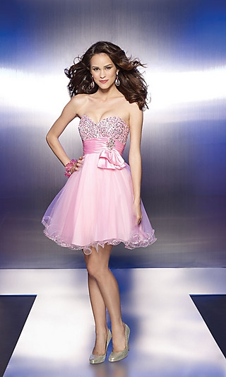Lovely A-line Sweetheart Sequins Bodice Pink Tulle Bowknot Homecoming/Cocktail /Mori Lee ML-9119 Short Prom Dress/ Sweet 16 Dress C1001108 - Micdresses.com