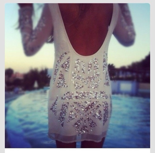 dress white dress sequin dress sequins scoop back u shaped back white long sleeve dress