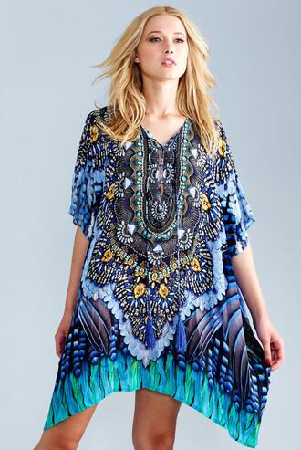 dress kaftan blue luxurious handmade viscose silk parides bikiniluxe