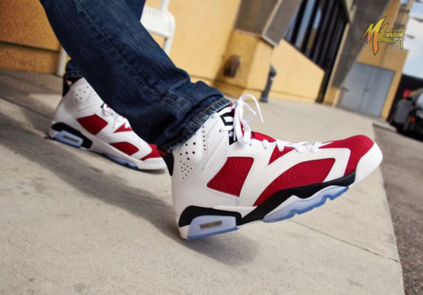 shoes carmine 6s red white jordans sneakers