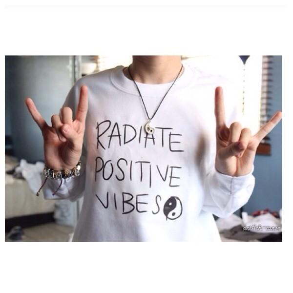 sweater radiate positive vibes