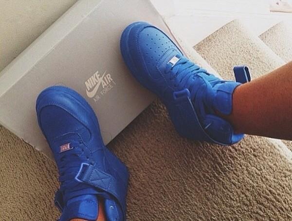 shoes royal blue nike nike air force 1 blue sneakers nike shoes af1 nike air force 1 uptowns