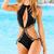 Black/Blue Halter Top Hollow Vintage Swimsuit : KissChic.com