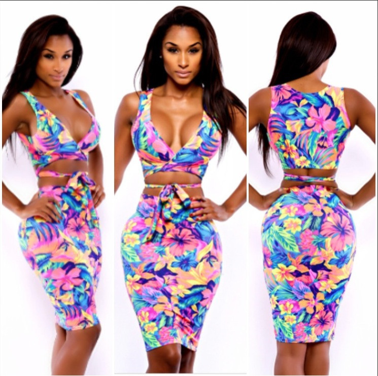Aliexpress.com : Buy women Saniyah Resort Wrap Set  Crop Top   Bodycon dress  V neck sexy Floral Print  dress from Reliable printed sticky note pads suppliers on RUIYI Co.,Ltd.