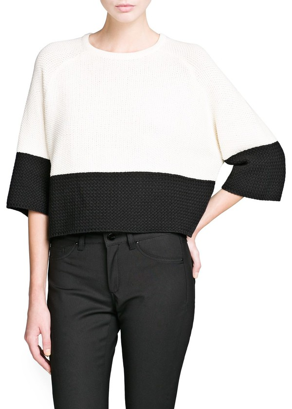 sweater contrast panel cropped sweater