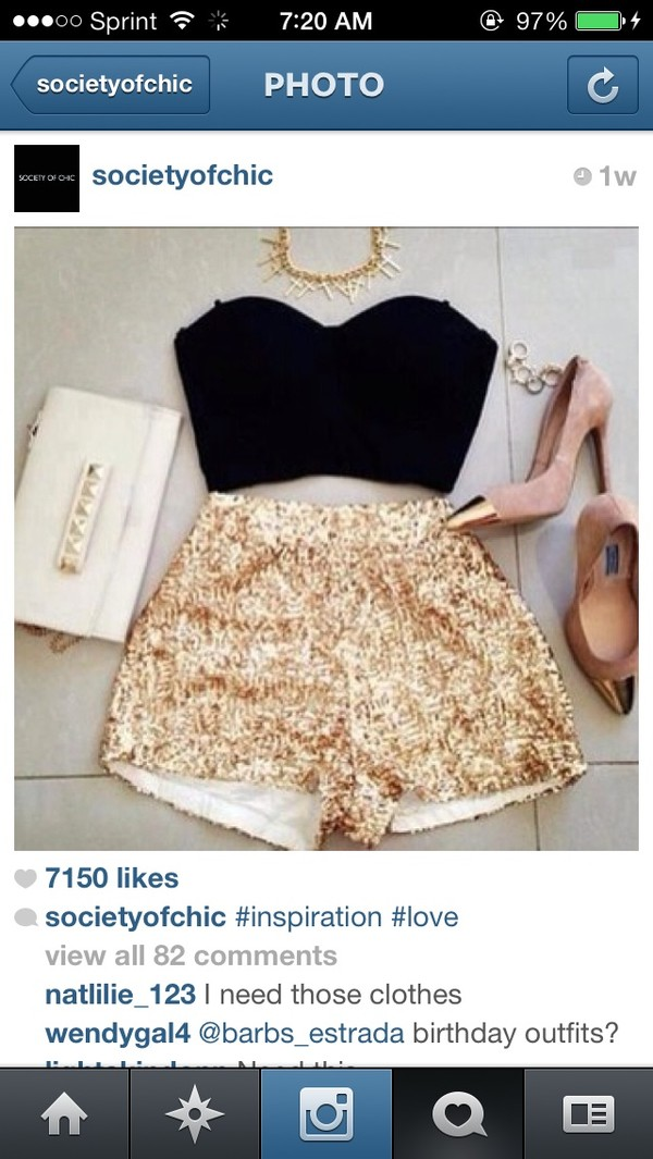 shorts gold sequence bag tank top