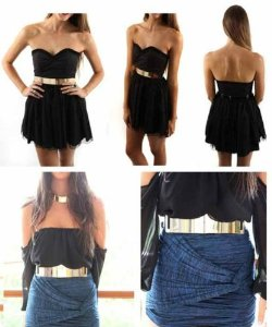 Amazon.com: Women Waist Thick Gold Plated Metal Trendy Fashion Lady Elastic Belt: Everything Else