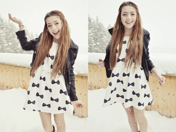 dress bow white jacket fashion clothes cute