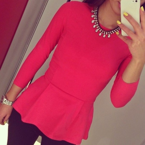 blouse pink pink blouse jewels pants shirt hot pink statement statement necklace peplum long sleeves 3/4 length sleeve jeans cute winter outfits outfit coral 3/4 sleeve solid color bright pink peplum