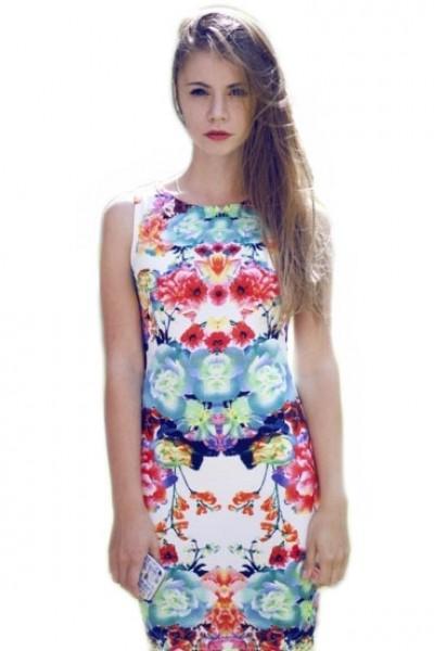 KCLOTH Mirror Printed Floral Sleeveless Midi Dress