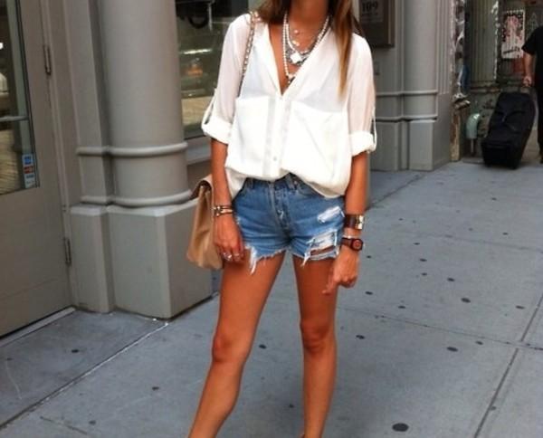 blouse shorts bag jewels white blouse cream blouse