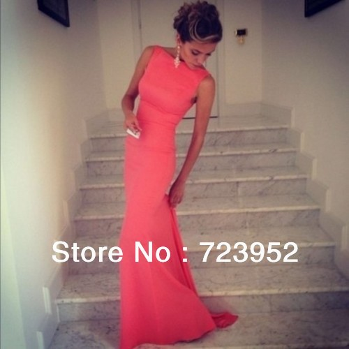 Free Shipping Best Selling Satin Sheath Formfitting High Neck Coral Mermaid Evening Dress Long Backless Wedding Event Dress-in Evening Dresses from Apparel & Accessories on Aliexpress.com