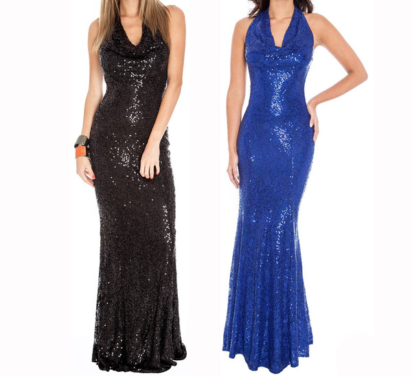 dress sexy sequins sequin dress night dress party elegant glamour fishtail dress halter top sheath dresses cocktail dress