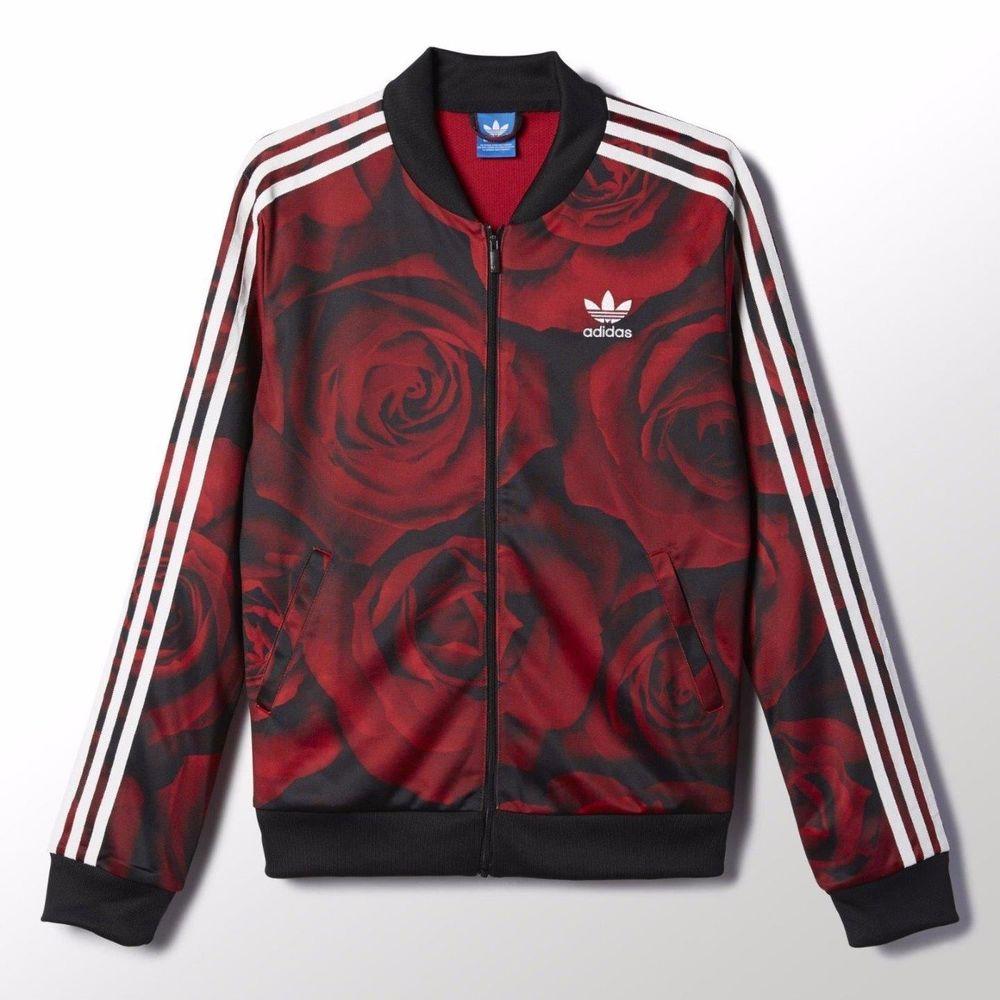 adidas originals red clash red roses flowers track top