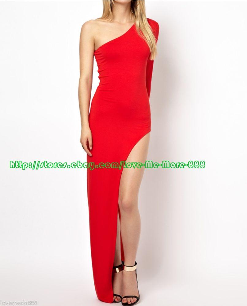 Celeb Club One Shoulder High Side Split Fit Slim Long Maxi Bodycon Dress Red XL   eBay