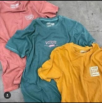 shirt pink vans blue shirt yellow