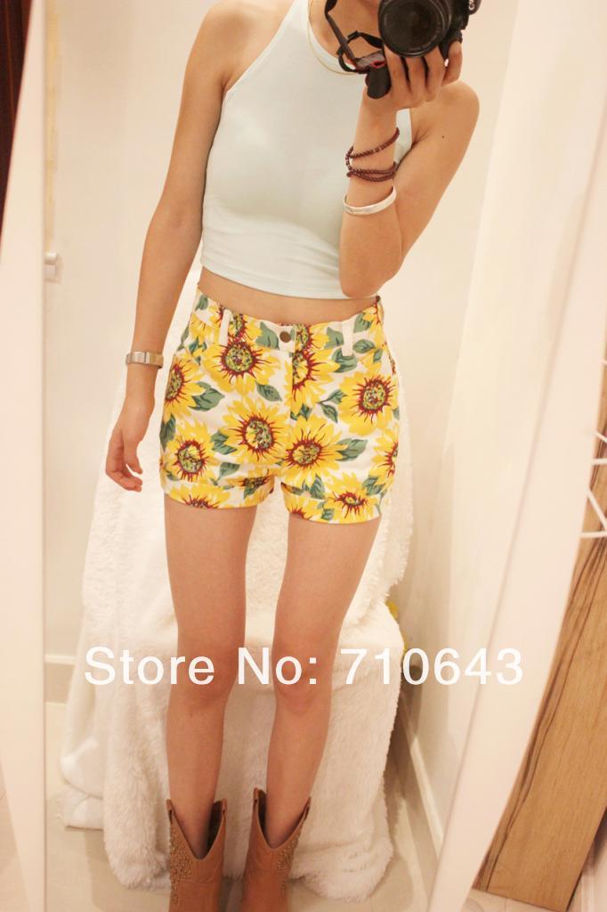 new women shorts girl beach suit sunflower print denim apparel high waist short hot pant size S M L XL XXL-in Shorts from Apparel & Accessories on Aliexpress.com