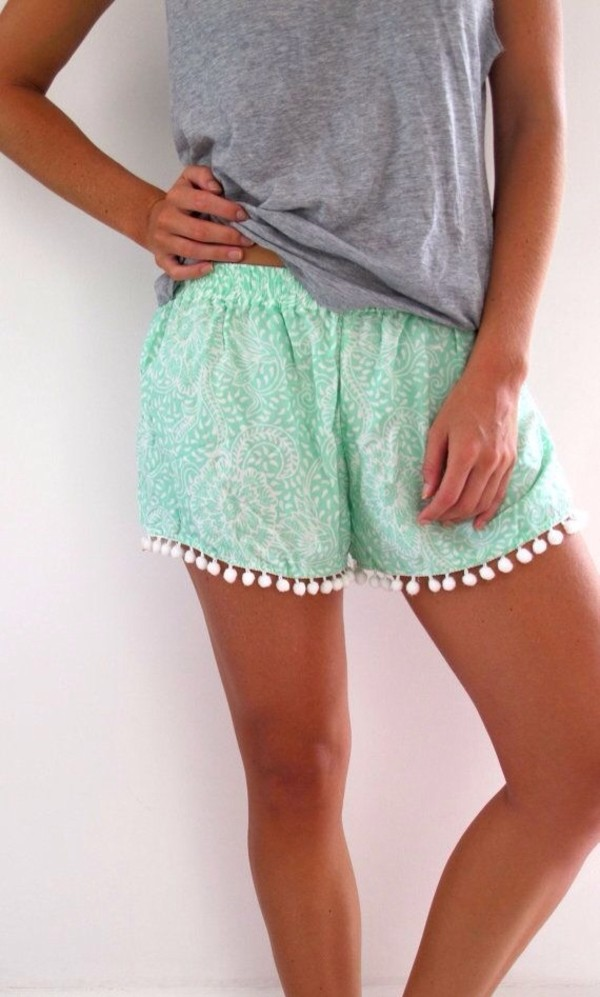 shorts blue shorts cute outfits summer outfits mint blue summer pompon mint green pom pom shorts pom pom shorts style top blue cute summer nice boho pants summer shorts grey blouse legs tanned green pon pon shorts short shorts summer outfits summer holidays summer accessories summer top colorful