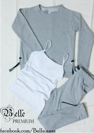 pajamas black and grey belle cotton