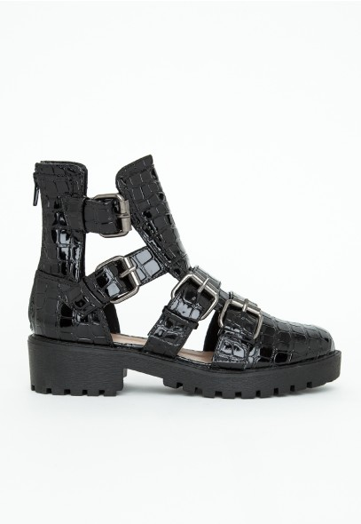 Amy Croc Multi Buckle Ankle Boots - Footwear - Boots - Missguided