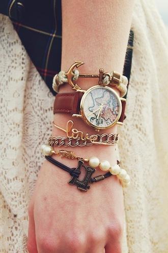 jewels bracelets cute hipster tumblr pearl watch globe world globe watch leather anchor anchor bracelet love bracelet gold