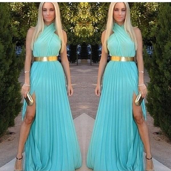 dress formal fancy gold gold belt halter neck slit dress summer sheer fashion style ombre beach party maxi dress gold belt dress ombre maxi dress ombre dress