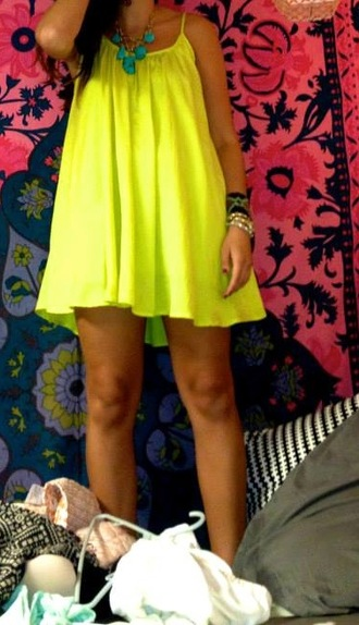 dress neon yellow shift colorful