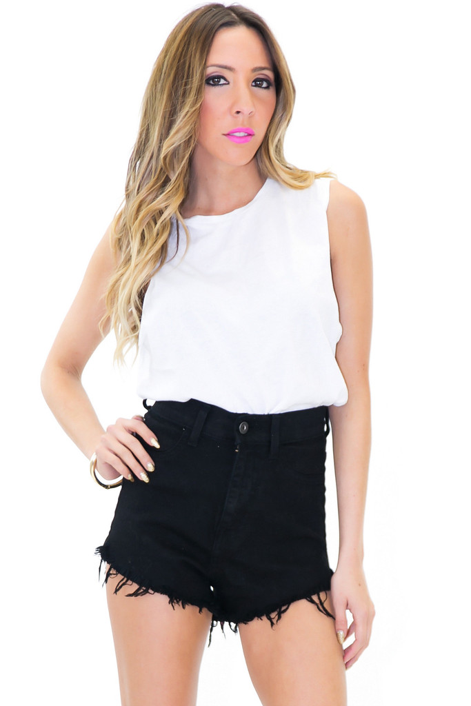 RUGGER HIGH WAISTED DENIM SHORTS - Black | Haute & Rebellious
