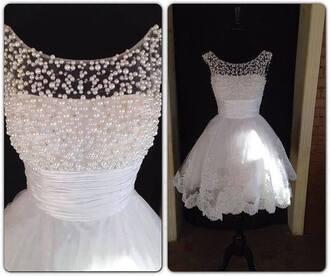 dress white dress lace dress lace wedding dress wedding dress vintage wedding dress pearl white ivory dress scoop neck natural waistline homecoming dress