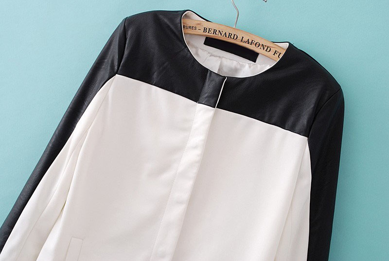 White Contrast Black Long Sleeve Leather Trench Coat - Sheinside.com
