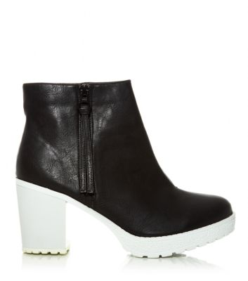 Wide Fit Monochrome Side Zip Chunky Block Heel Boots