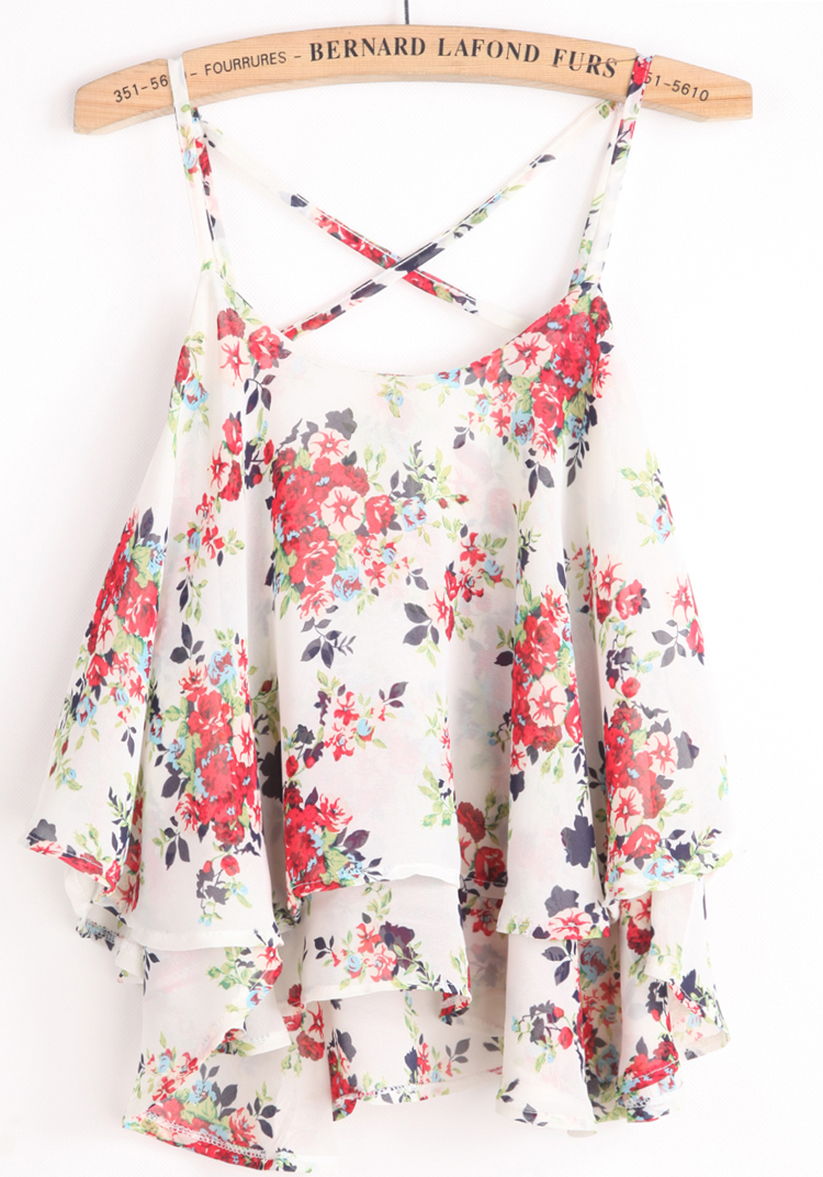 2014 New Summer Women's Stylish Hot Top Casual White Spaghetti Strap Floral Chiffon Vest-in Camis from Apparel & Accessories on Aliexpress.com