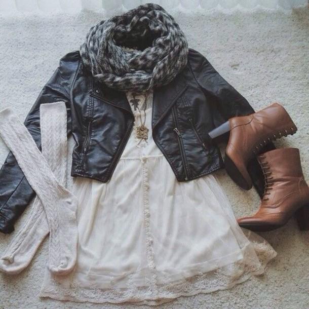 dress lace dress white dress pretty scarf grey scarf